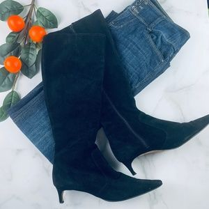 Isaac Italy black suede knee high boots 10 zip up